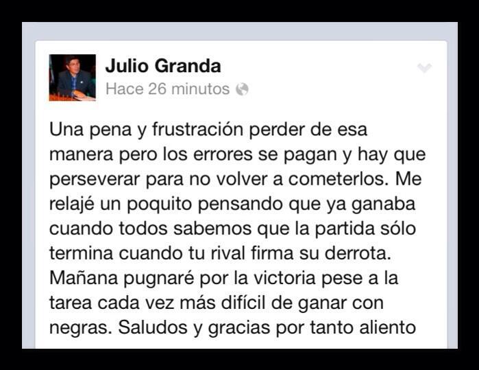 Julio Granda, tras la derrota de ayer ante Giri, prometiendo luchar con todo su esfuerzo