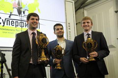Los tres primeros: Svidler, Nepomniachtchi y Vitiugov