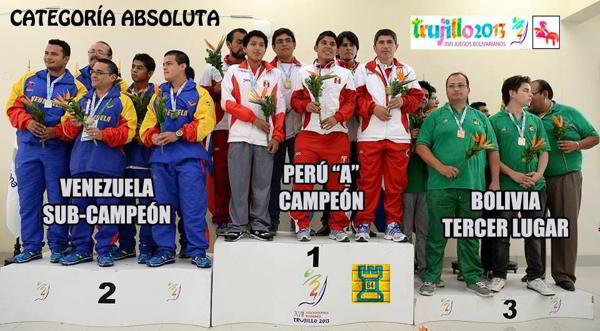 Peru (oro) Venezuela (plata) y Bolivia (bronce)
