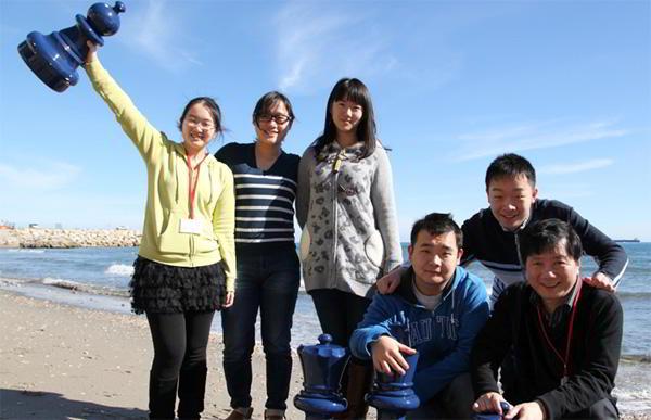 La delegación china en el torneo: Zhongyi Tan,  Zhao Yué, Qi Guo, Chao Li, Yi Wei y Jun Xu. Foto: Sophie Triay.