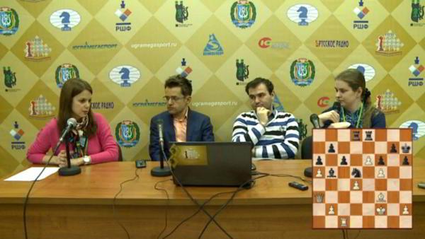 Aronian y Mamedyarov en la conferencia de prensa de la ronda 2