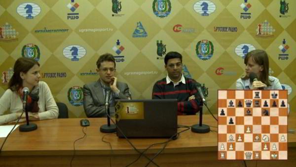 Anand y Aronian durante la conferencia de prensa tras la partida