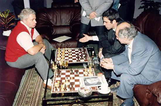 Spassky, Kasparov y Tal, en Reykjavik 1988