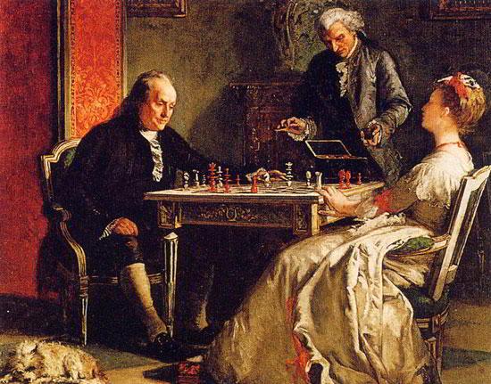 Benjamin Frankin jugando ajedrez