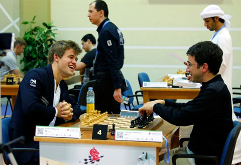 Magnus Carlsen y Laurent Fressinet