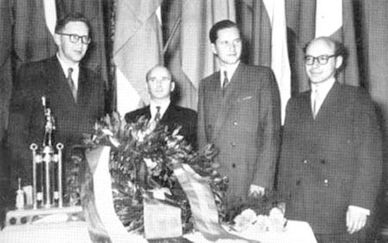 Smyslov, Reshevsky, Keres y Bronstein en Zurich 1953