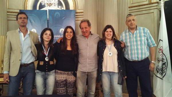 Florencia Fernandez y Denise Carraro junto a Elisa Magiolo y Mario Petrucci