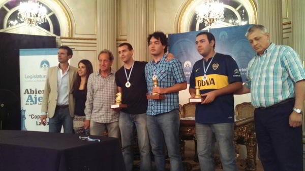 """Mareco, Obregón y Paveto, el """"podio"""" de la Copa Norberto La Porta."""
