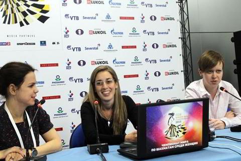 La argentina Carolina Lujan en la conferencia de prensa tras vencer a Galliamova