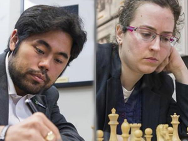 Los campeones 2015 de los EEUU: Hikaru Nakamura e Irina Krush