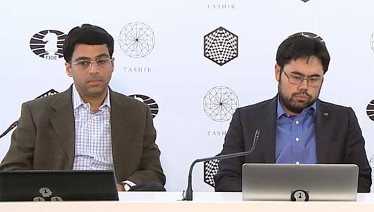 Nakamura y Anand en la conferencia de prensa