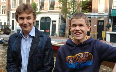 Karjakin y Carlsen en 2006