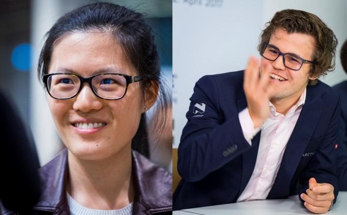 Hou Yifan y Magnus Carlsen